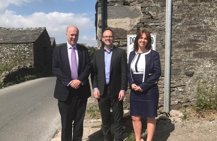 Chris Grayling MP, Simon Fell and Trudy Harrison MP at the A595 at Grizebeck
